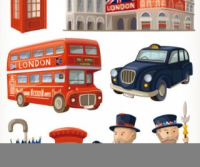 Cartoon london design elements vector