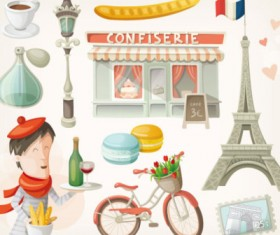 Paris cartoon design elements vector