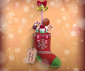 knitted fabric christmas shoe vector card
