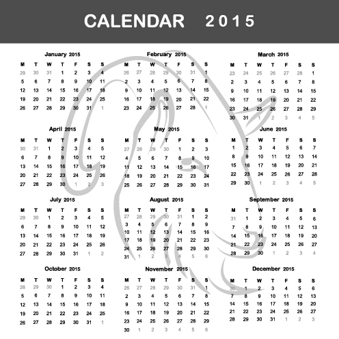 simple grid calendar 2015 vector set 01