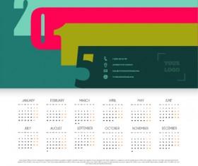 simple grid calendar 2015 vector set 02