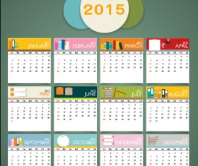 simple grid calendar 2015 vector set 03
