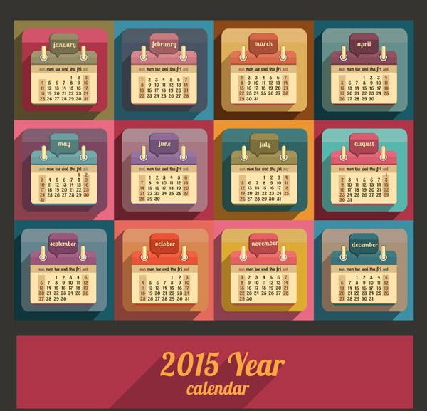 Calendar Vintage Vector : Calendar retro color styel vector