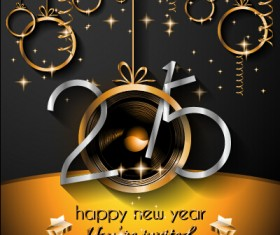 2015 new year golden ornaments background set 01