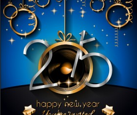 2015 new year golden ornaments background set 03