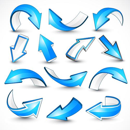 3D blue arrows vector material 01
