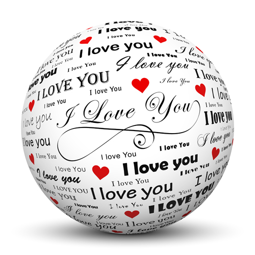 Ball with Valentine Day elements background