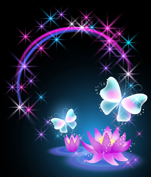 Beautiful Butterflies With Flowers Vector Background 02