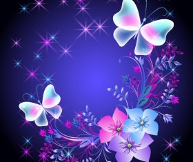 Beautiful butterflies with flowers vector background 03