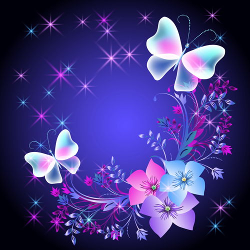 Beautiful Butterflies With Flowers Vector Background 03 Free Download