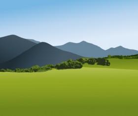 Beautiful fields landscapes vector set 01