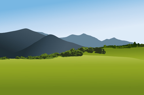 Beautiful fields landscapes vector set 01