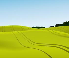 Beautiful fields landscapes vector set 02