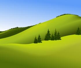 Beautiful fields landscapes vector set 03