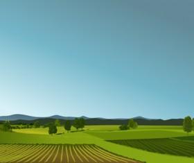 Beautiful fields landscapes vector set 04