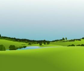 Beautiful fields landscapes vector set 05
