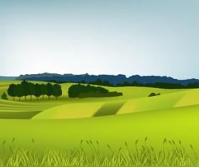 Beautiful fields landscapes vector set 06
