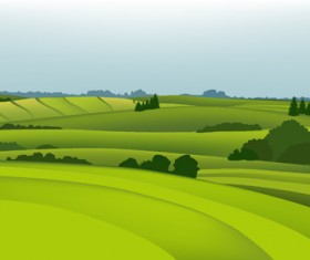 Beautiful fields landscapes vector set 07