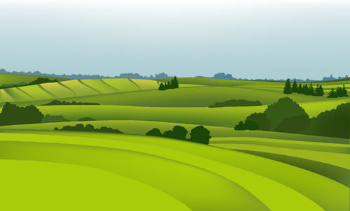 Beautiful fields landscapes vector set 07