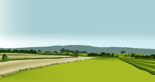 Beautiful fields landscapes vector set 08