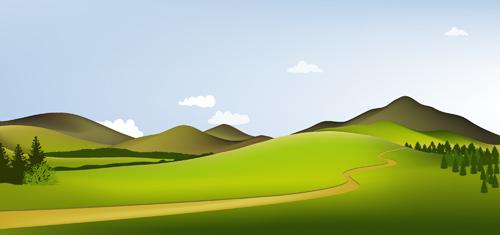 Beautiful fields landscapes vector set 09