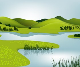 Beautiful fields landscapes vector set 10