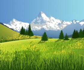 Beautiful fields landscapes vector set 11