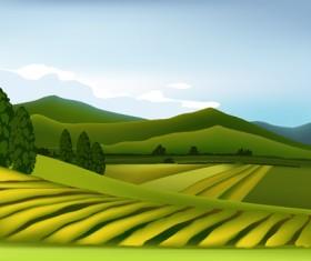 Beautiful fields landscapes vector set 12