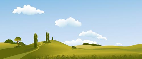 Beautiful fields landscapes vector set 14