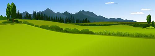 Beautiful fields landscapes vector set 16