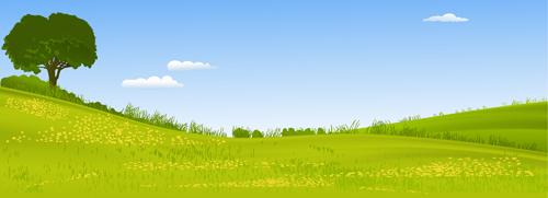 Beautiful fields landscapes vector set 17