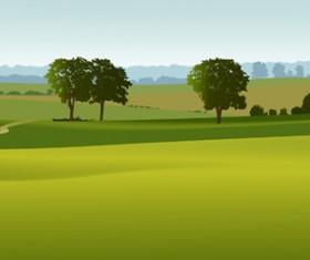 Beautiful fields landscapes vector set 18