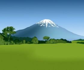 Beautiful fields landscapes vector set 19