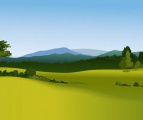 Beautiful fields landscapes vector set 21
