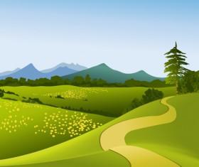 Beautiful fields landscapes vector set 22