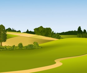 Beautiful fields landscapes vector set 23
