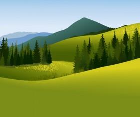 Beautiful fields landscapes vector set 24