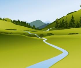 Beautiful fields landscapes vector set 25