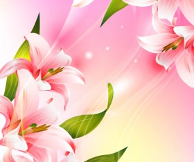 Beautiful pink flowers vector background set 01
