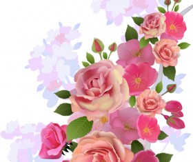 Beautiful pink flowers vector background set 02