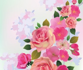 Beautiful pink flowers vector background set 04