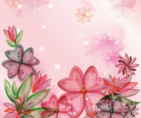 Beautiful pink flowers vector background set 05
