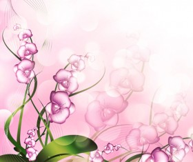 Beautiful pink flowers vector background set 06