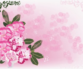 Beautiful pink flowers vector background set 08
