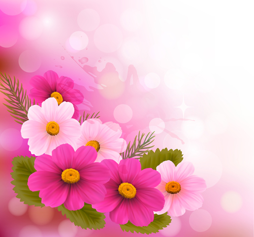 Beautiful Pink Flowers Vector Background Set 09