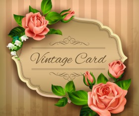 Beautiful roses with vintage cards vector material 01