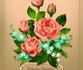 Beautiful roses with vintage cards vector material 02