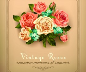 Beautiful roses with vintage cards vector material 04