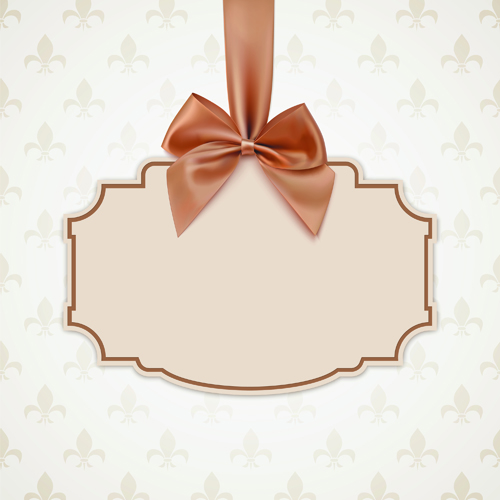 Beige bow card template vector 02