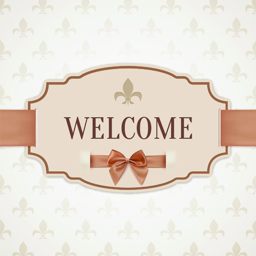 Beige bow card template vector 03